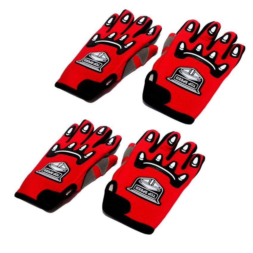 ถุงมือ (TOP SPEED) Racing แบบเต็มนิ้ว สีแดง (แพ็ค 2 ชิ้น)