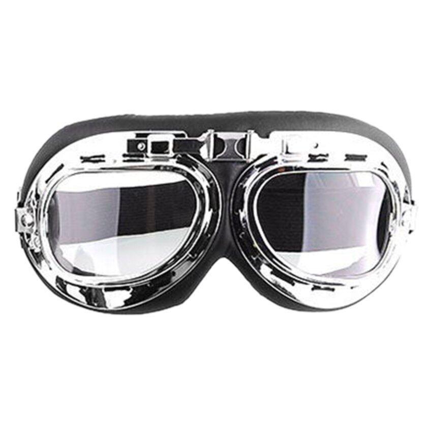 UJS Men Motorcycle Helmet Goggles (Transparent) Silver (Intl)