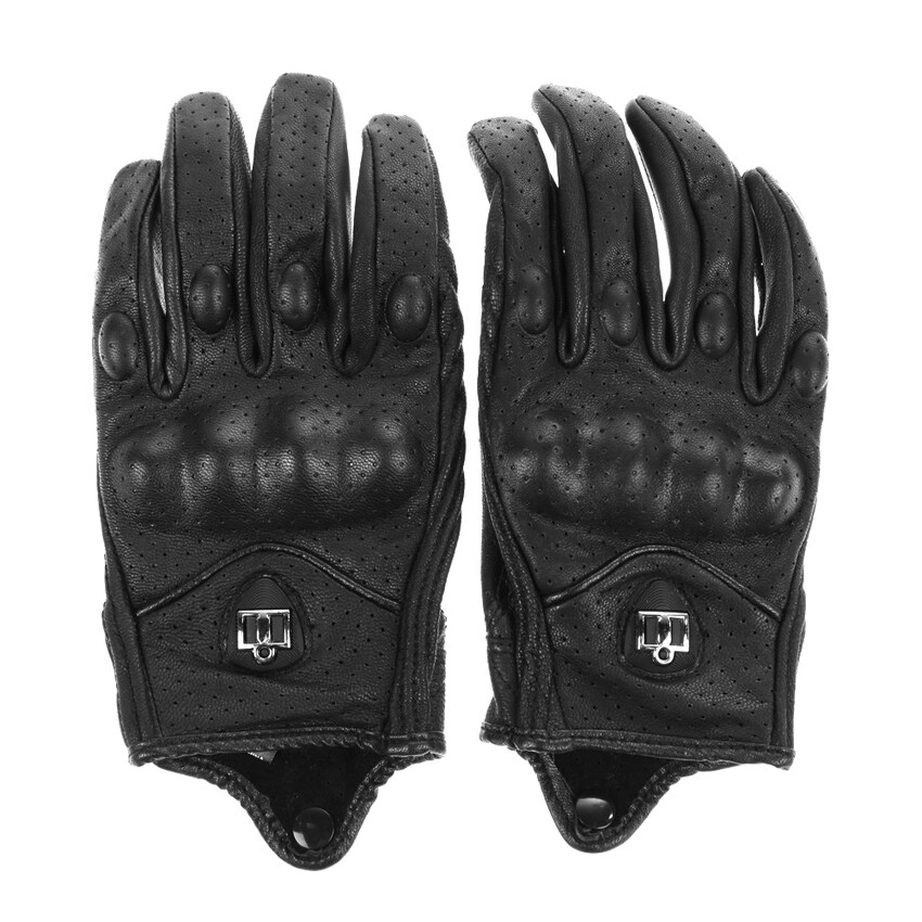UJS Motorcycle Riding Protective Armor Black Short Leather Gloves M L XL