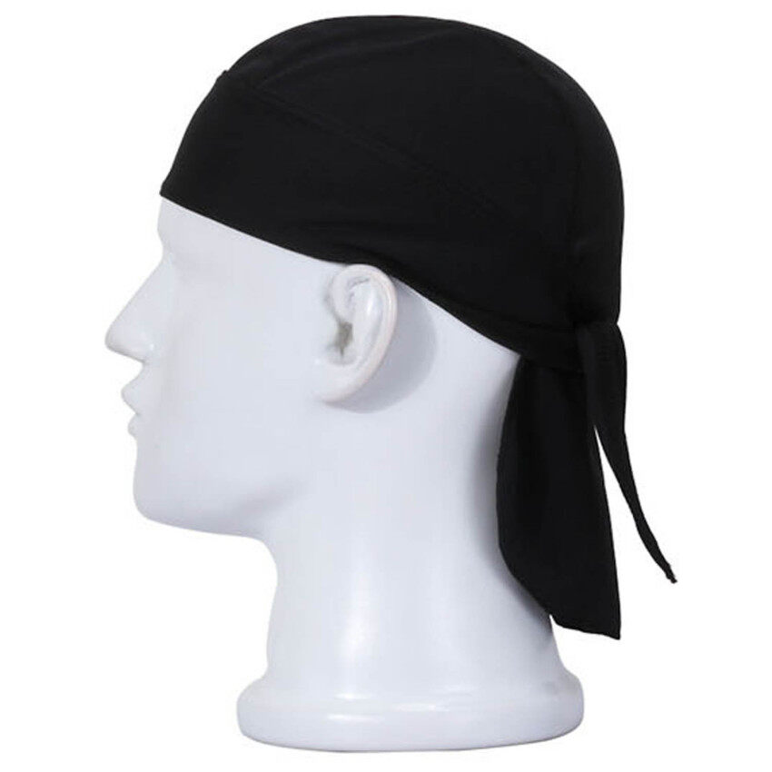 Unisex Anti Sweat Flexible Motorcycle Riding Cap Rag Head Wrap Skull Bandana Cap Black