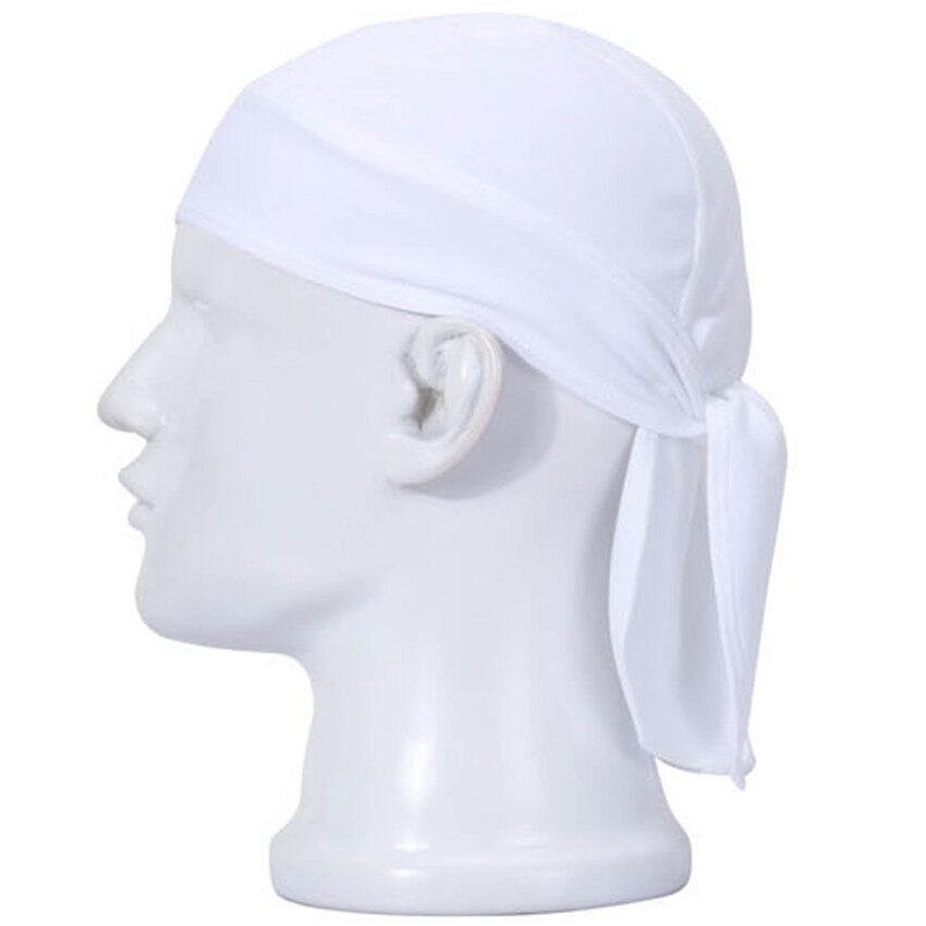 Unisex Anti Sweat Flexible Motorcycle Riding Cap Rag Head Wrap Skull Bandana Cap White