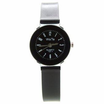 WaTe นาฬิกาข้อมือสุภาพสตรี สายยางสีดำแบบด้าน หน้าปัดสีดำ สไตล์คลาสสิค  WT-004 (Black)