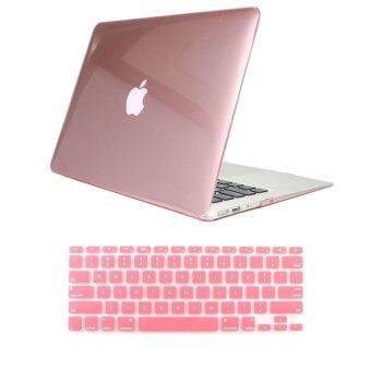 """Welink 2 in 1 Apple MacBook Air 11"""" Case / Clear Crystal Case & Keyboard Cover for Apple MacBook Air 11"""" (Clear Pink)"""
