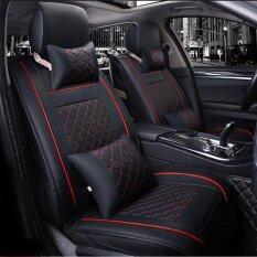WINS ชุดเบาะหนังฟูลเซ็ตพรีเมียม 4ที่ันั่งสำหรับรถยนต์พร้อมหมอนหนัง 4ใบ - Black