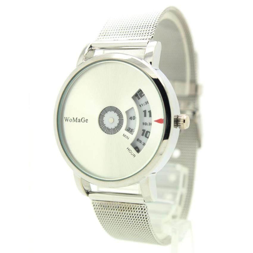 Womage Watch นาฬิกาข้อมือชาย-หญิง สาย Stainless หน้าเงินเงา ระบบจานหมุนตัวเลข WM-2 ...