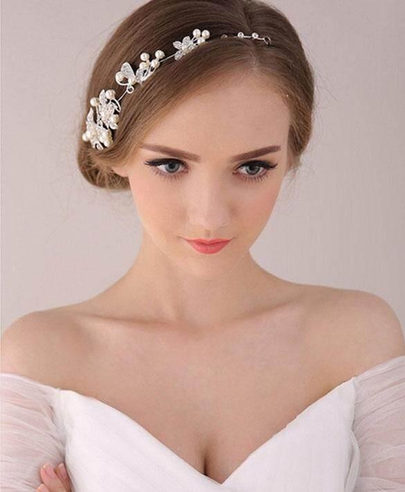 WONDERSHOP Women Beads Rhinestone Flower Wedding Bride Bridal Party Headband Hair Pieces - intl