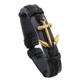 WSJ Leather jewelry alloy boat anchor Leather Bracelet Black - intl