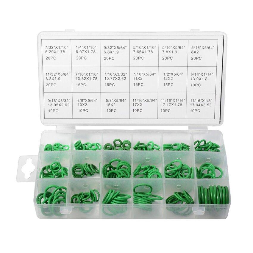 ยางโอริง 270pcs O-Ring Assortment Nitrile Rubber Washer Seals NBR Kit 18 Sizes in Green with a Re-Sealable Plastic Box