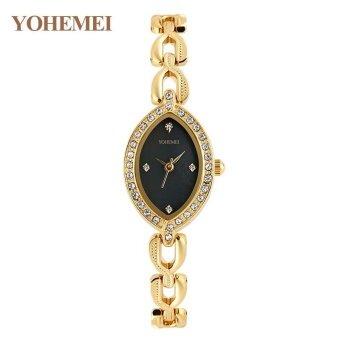 YOHEMEI Ladies Quartz Alloy Strap Watch Women 's Elegant Gold Steel Bracelet Wristwatches - Black