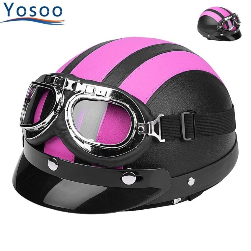 YOSOO Universal Motorcycle Synthetic Leather Open Face Helmet Goggles Pink - intl