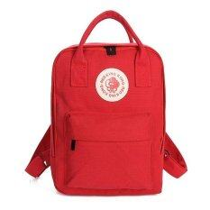 Backpack canvas กระเป๋าเป้แฟชั่นทรงเหลี่ยม ผ้าใบหนา (สีแดง)