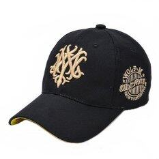 หมวกแฟชั่น-หมวกเบสบอล ผ้าใบปักลายนูน NY (สีดำ-ทอง)