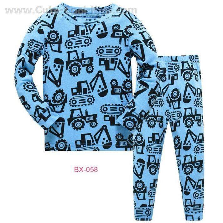 L-HUBX-058-LBX ชุดนอนเด็กชาย แนวเข้ารูป Slim Fit ผ้า Cotton 100% เนื้อบาง สีฟ้า ลายรถ