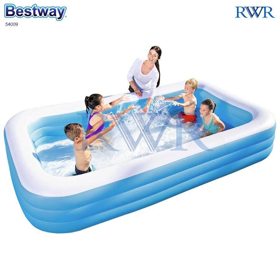 Bestway สระน้ำ เป่าลม สี่เหลี่ยม สีฟ้า 3.05x1.83x0.56 ม. รุ่น 54009/58484 By Rwr.