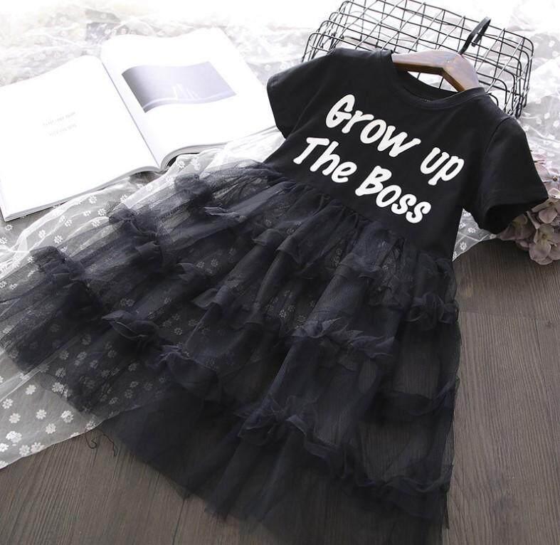 Baby ชุดเด็กผู้หญิง ชุดเดรสกระโปรง เสื้อแขนสั้น สกรีนลาย เย็บต่อกระโปรงผ้าซีทรู (สีดำ) รุ่น B62