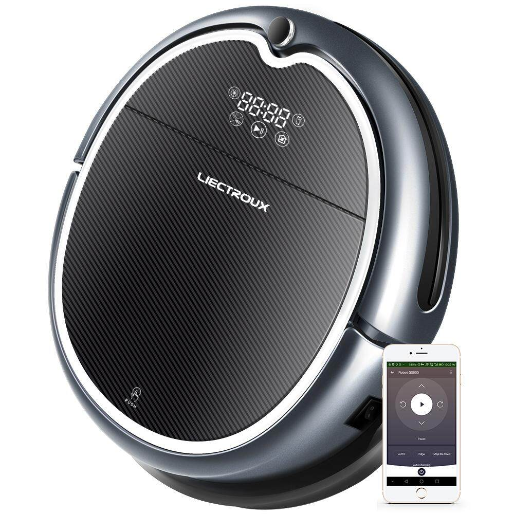 Liectroux Q8000 Robot Vacuum Cleaner with Wifi APP Control, 2D Map Navigation and Memory, Adjustable Suction Power, Water Tank to Do Wet & Dry Mopping Robot Vacuum