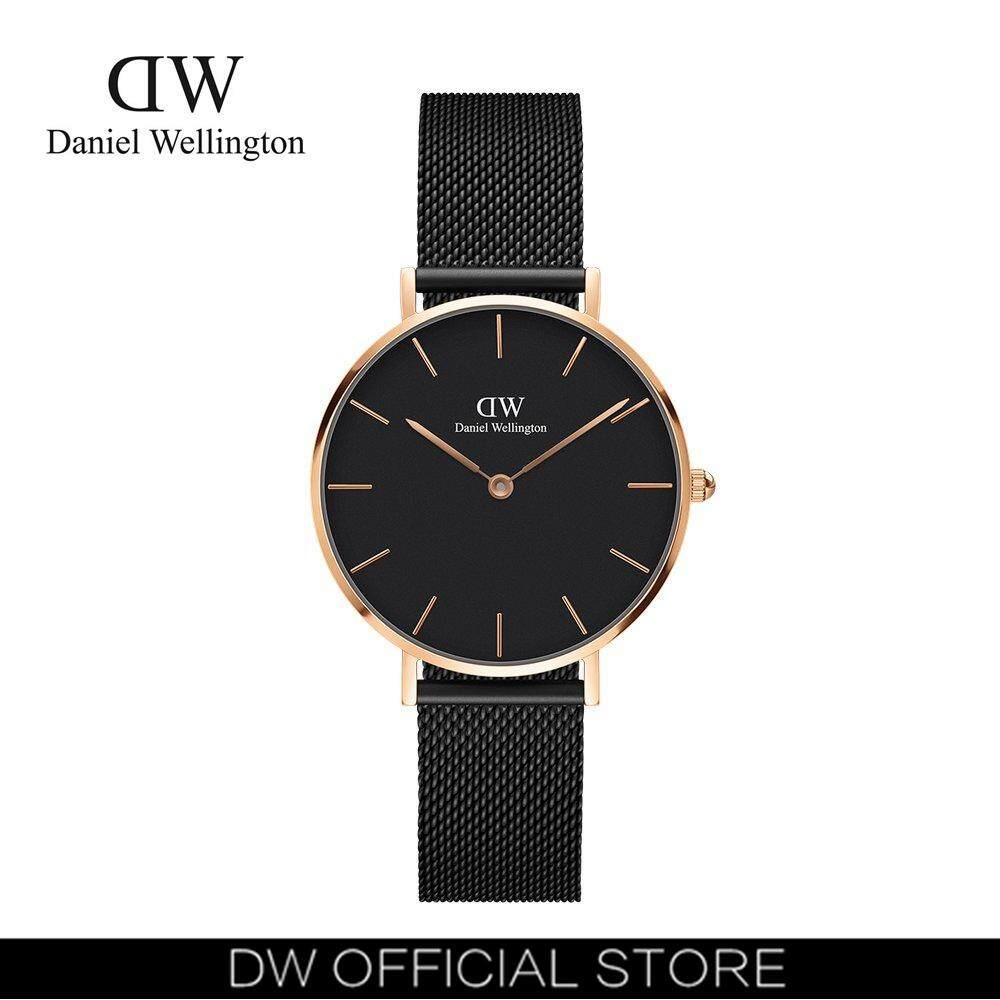 Daniel Wellington Dw00100201/00100163/00100161 Classic Petite Ashfield 32mm นาฬิกาข้อมือ นาฬิกาแฟชั่น ผู้หญิง เหล็กสาน สีดำ Fashion Black Dial Mesh Strap Women Watch - Black Case Mesh Strap.