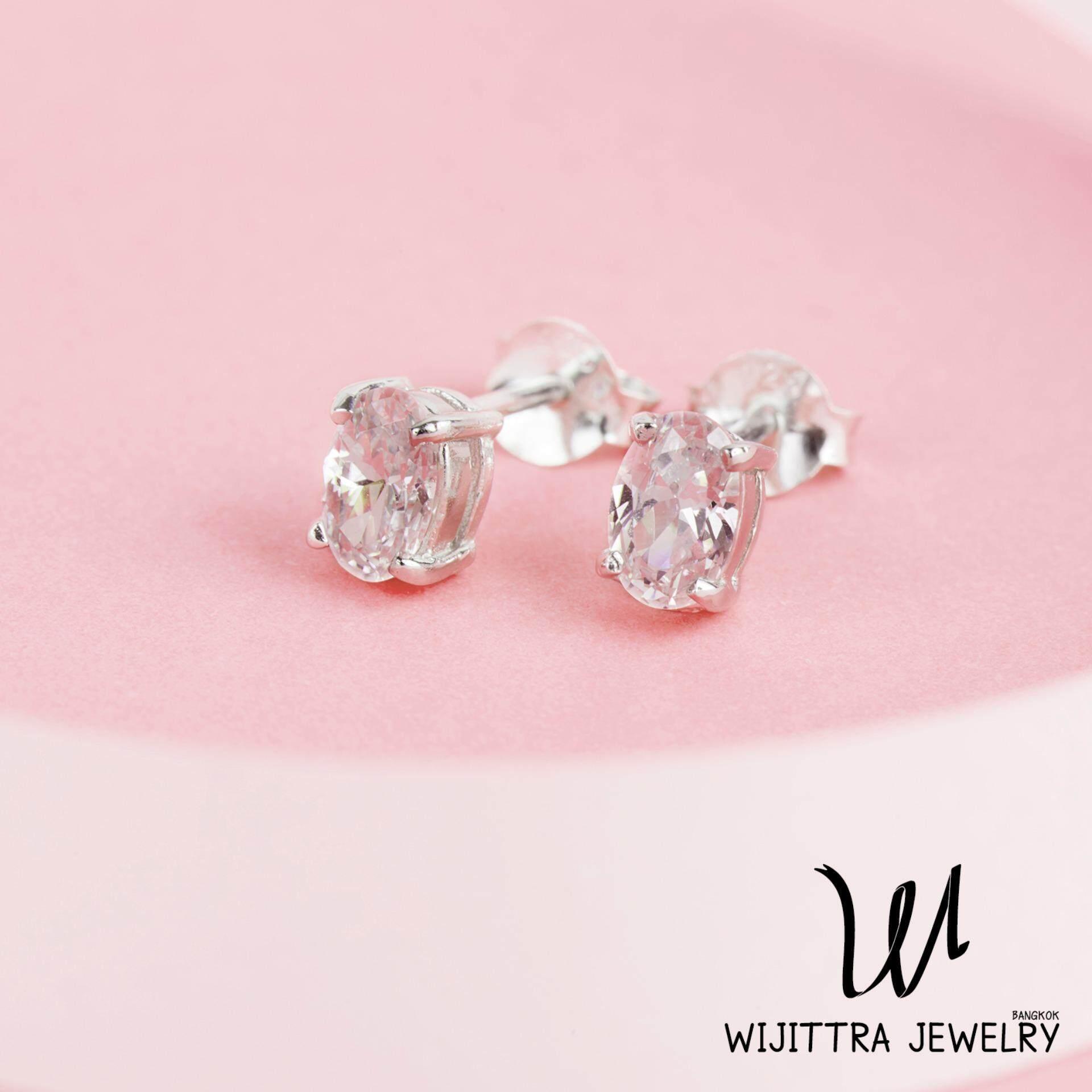 ราคา Pegasus Earrings Wijittra Jewelry ต่างหูเงินแท้ 925 ชุบโรเดียม เพชรสวิส Cubic Zirconia พร้อมกล่องเครื่องประดับ High End ออนไลน์