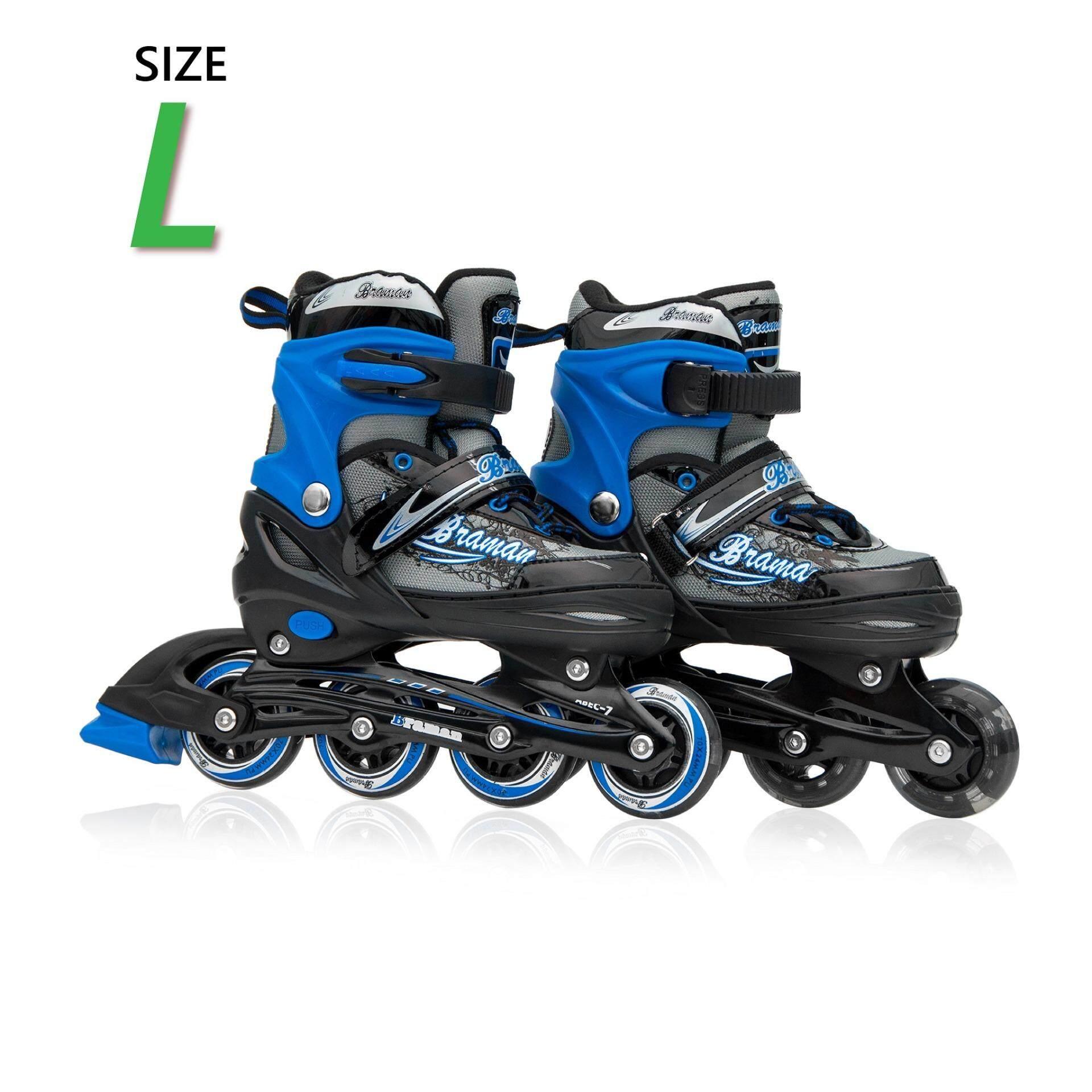 โปรโมชั่น รองเท้าอินไลน์สเก็ต Premium Inline Skate Braman Aluminium Tracks Abec 7 Wheels With Lights 0415B Warranty 1 Year เบอร์ 33 36 Black L