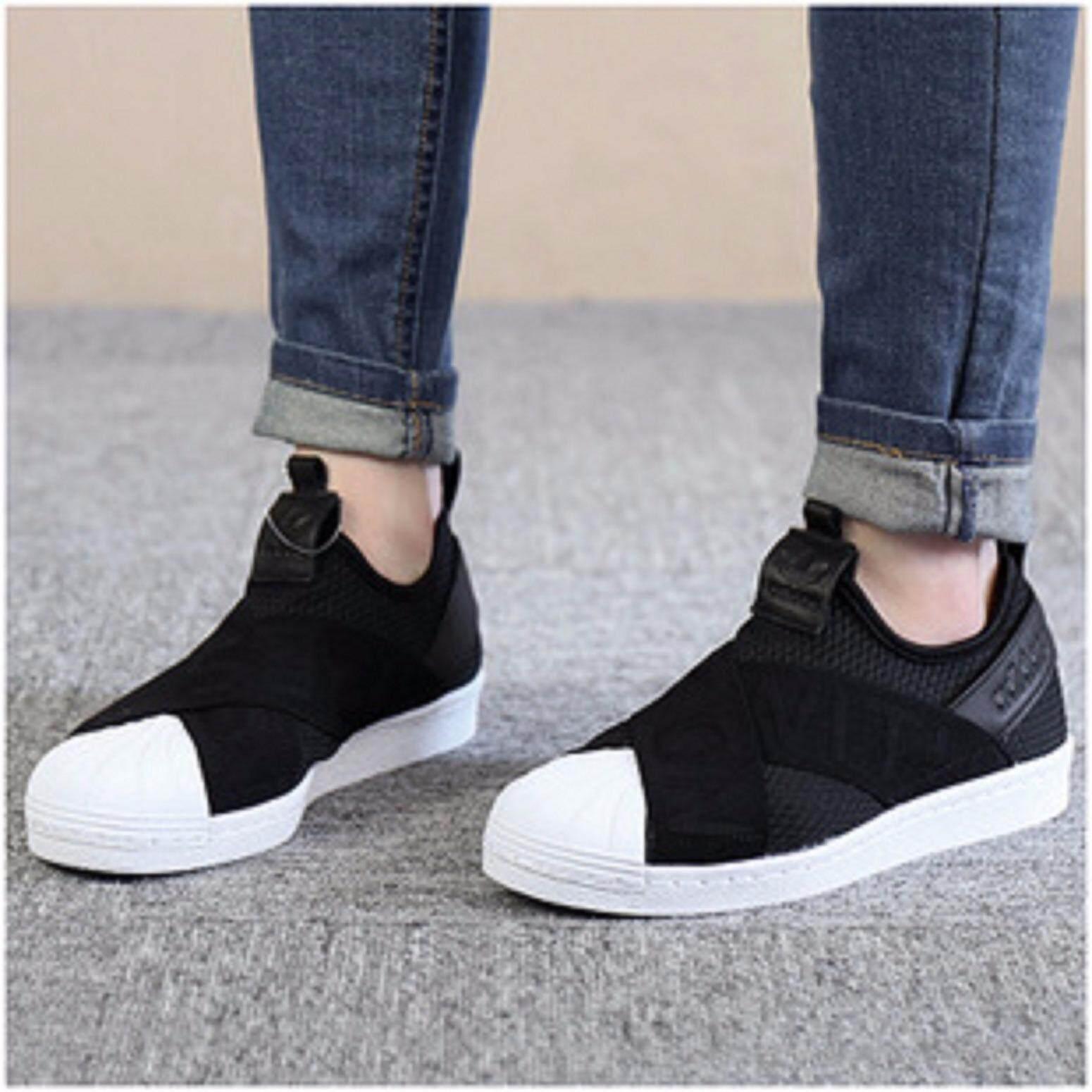 ขายดีมาก! อาดิดาส รองเท้าผ้าใบ ADIDAS SLIP ON แฟชั่น SUPERSTAR USA BLACK (รุ่นใหม่ล่าสุด) ++ลิขสิทธิ์แท้ 100% จาก ADIDAS พร้อมส่ง ส่งด่วน kerry++