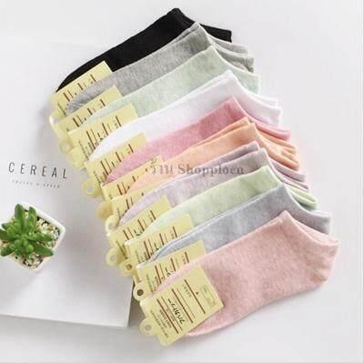 เซตถุงเท้าข้อสั้นสีพาสเทล 10 คู่ (1เซตมี 10 สี) By Shopploen.