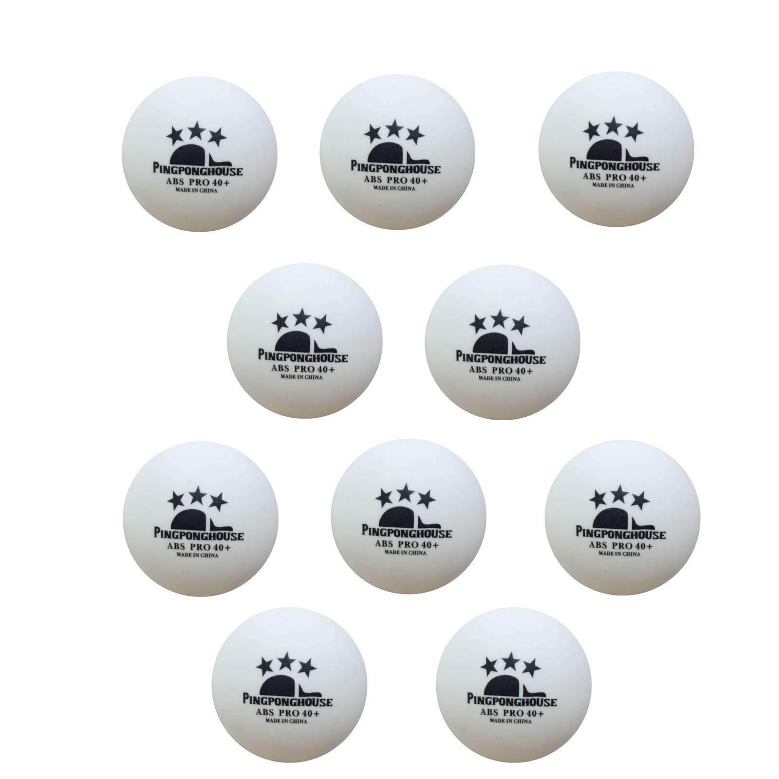 Pingponghouse ลูกปิงปอง 3 ดาว รุ่น Abs Pro 40+ สีขาว (จำนวน 10 ลูก) By Pingpong House.