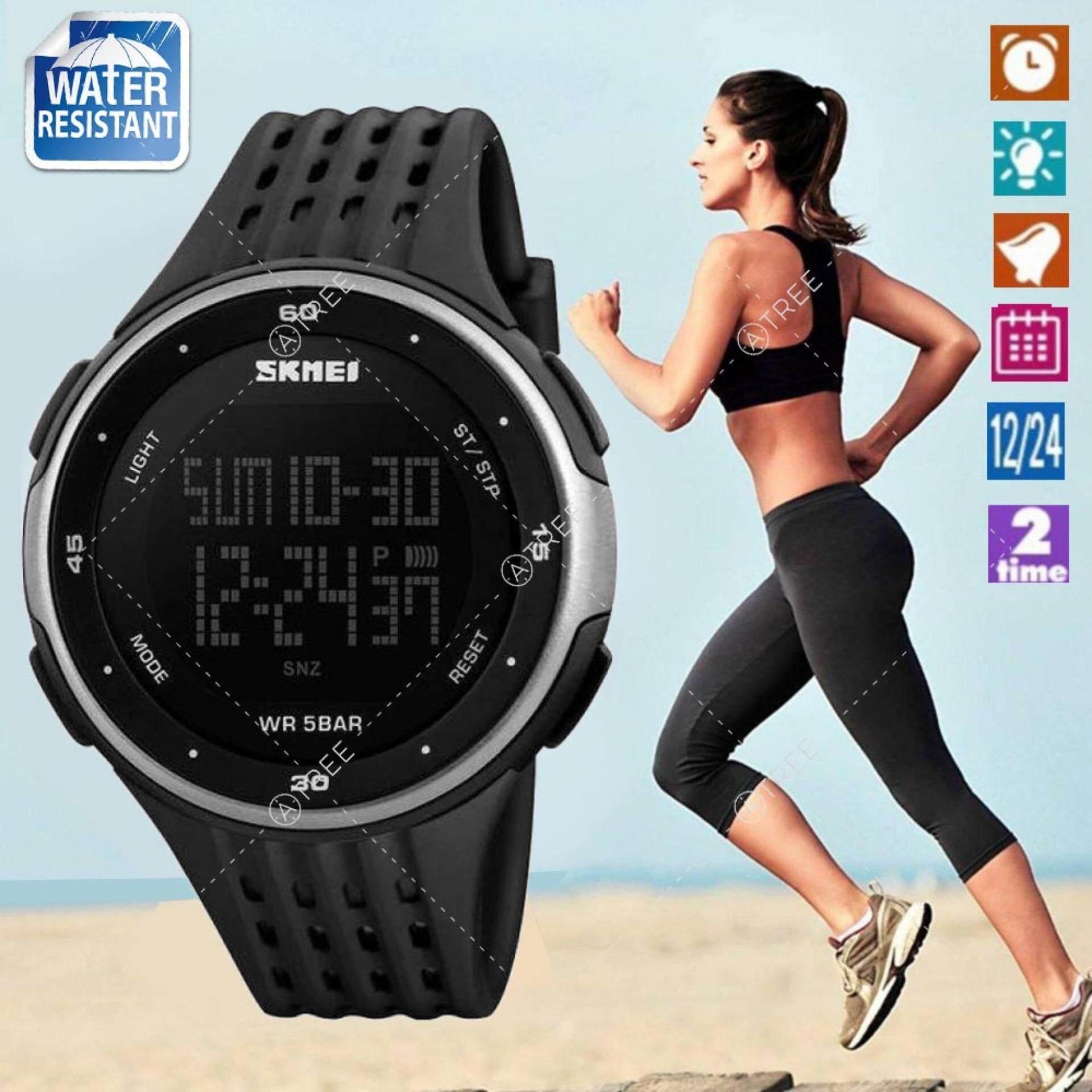 ราคา Skmei ของแท้ 100 ส่งในไทยไวแน่นอน นาฬิกาข้อมือผู้หญิง สไตล์ Sport Digital Watch บอกวันที่ ตั้งปลุก จับเวลา ตัวเลข Led ใหญ่ ชัดเจน กันน้ำ สายเรซิ่นสีดำ รุ่น Sk M1219 สีเงิน Silver กรุงเทพมหานคร