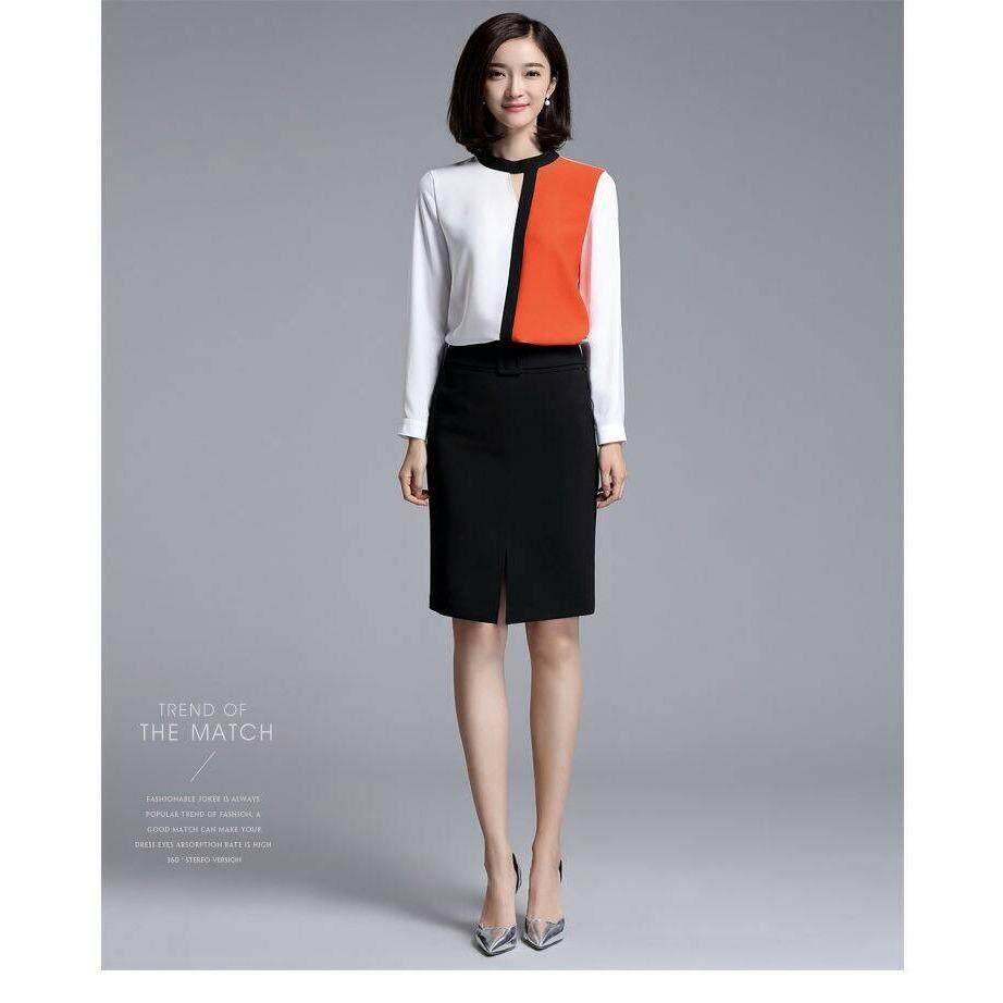 ขาย Fashion On Art เสื้อแขนยาวคอปิด ตัดต่อผ้าสไตล์ทรีโทน ผู้ค้าส่ง
