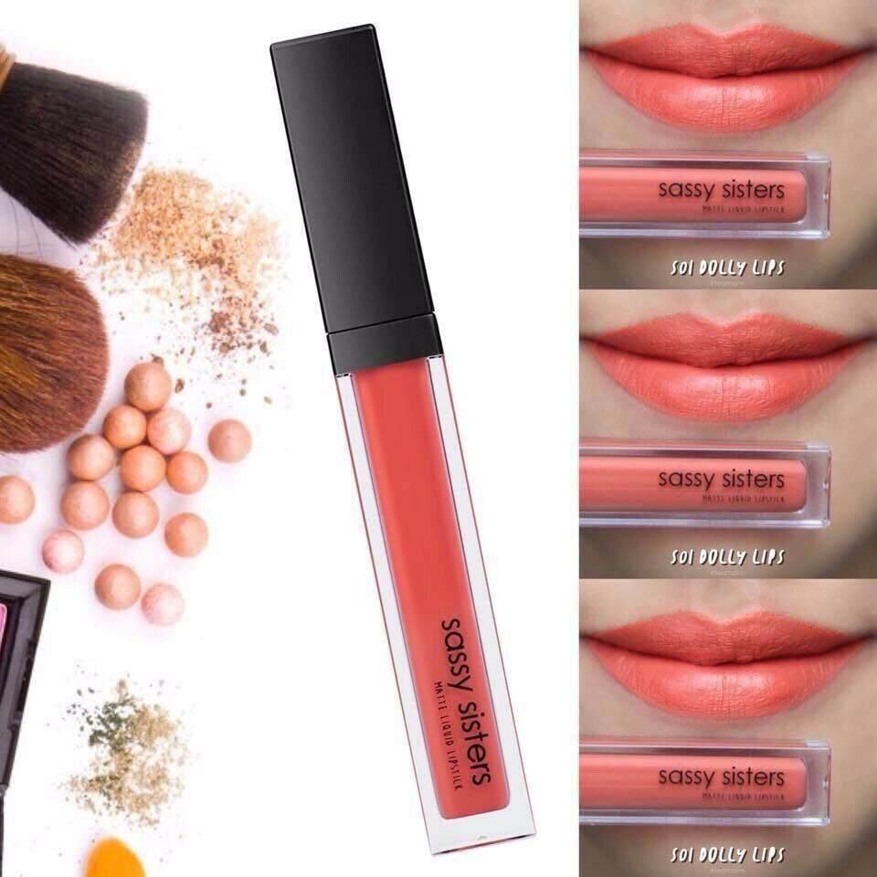 Sassy Sisters Matte Liquid Lipstick ลิปสติกเนื้อแมท ติดทนนาน ช่วยบำรุงผิวปาก - Dolly Lips S01.