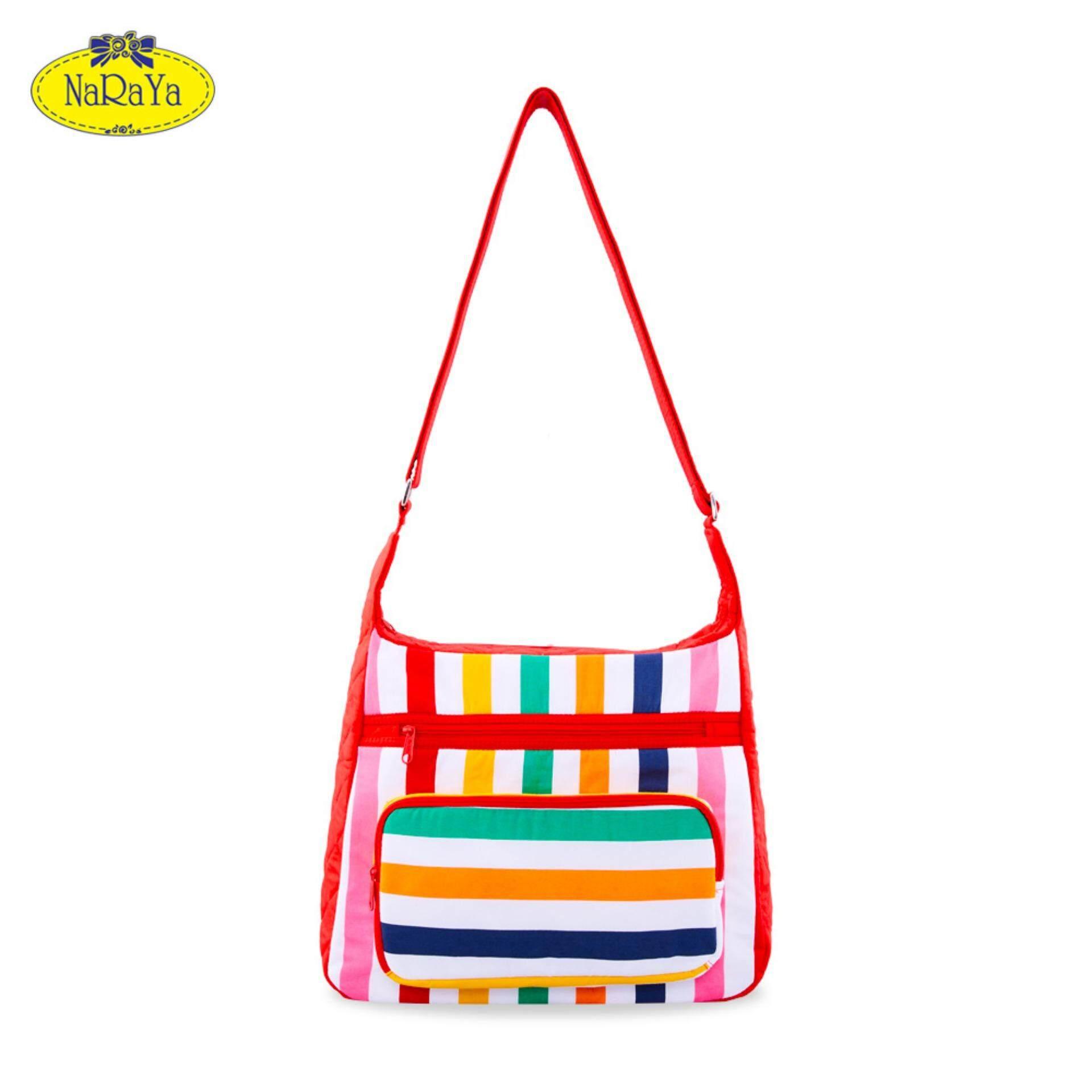 กระเป๋าสะพายข้าง NaRaYa Rainbow Striped with Quilted Inserts
