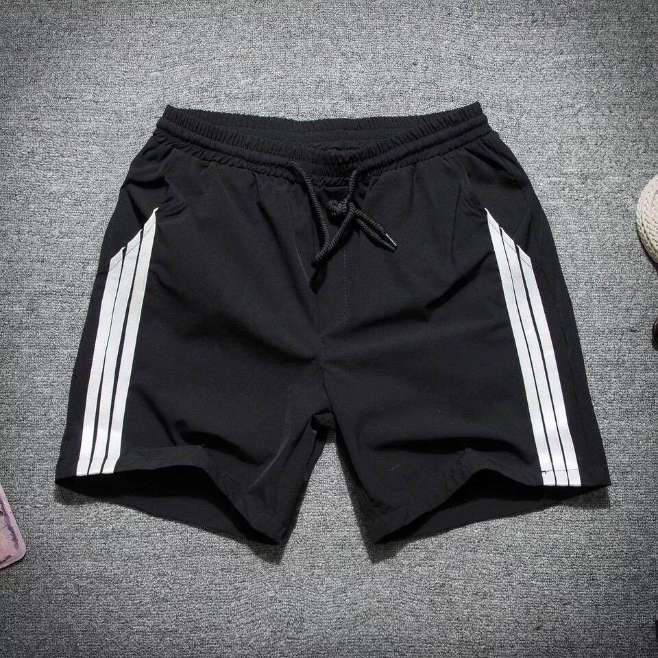 Kk กางเกงขาสั้นผู้ชาย ผ้าร่มเนื้อดี มีแถบ (สีดำ) รุ่น S0012 By K-K Shop.