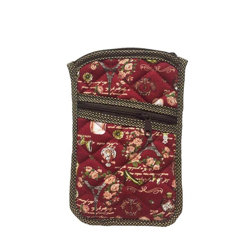 ส่วนลด สินค้า กระเป๋าใส่เหรียญ ใส่โทรศัพท์มือถือ มีสายคล้องคอ ผ้าแคนวาสสีแดง
