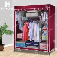 Hakone ตู้เสื้อผ้า 3 บล็อค โครงสร้างเหล็กพ่นกันสนิม มีซิปเปิด-ปิด พร้อมผ้าคลุม กันน้ำ กันฝุ่น สีแดงเลือดหมู รุ่น Kingsize-Darkred ตู้เก็บของ ตู้เก็บเสื้อผ้า Wardrobe 3 Block new step asia