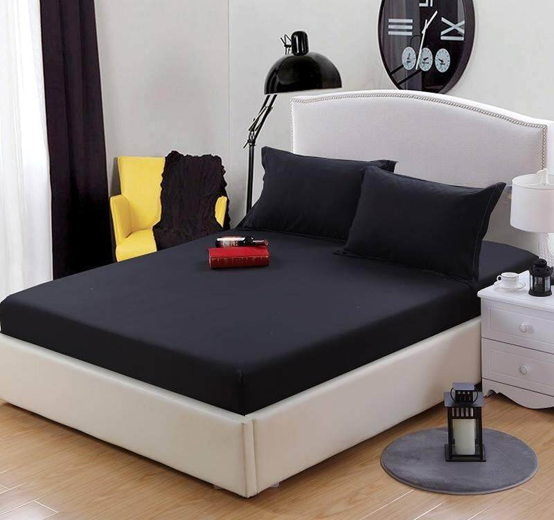 ผ้าปูที่นอนผ้าคอตตอนผสม 7 ฟุตสี ดำ.