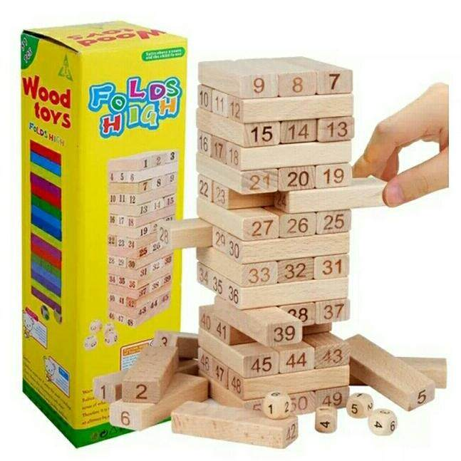 จังก้า ตัวต่อไม้ ตึกถล่ม แบบมีเลข ขนาด 48 ชิ้น พร้อมลูกเต๋า (แบบตัวเลข) By Youngdex.