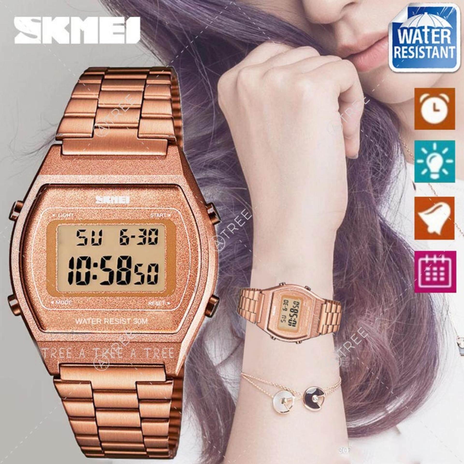 Skmei ของแท้ 100% ส่งในไทยไวแน่นอน นาฬิกาข้อมือผู้หญิง สไตล์ Casual Bussiness Watch จับเวลา ตั้งปลุกได้ ไฟ Led ส่องสว่าง สายแสตนเลส รุ่น Sk-M1328.