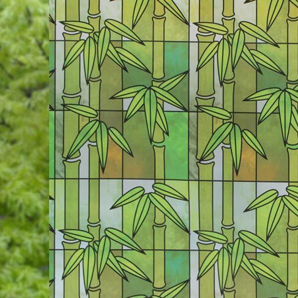 สติ๊กเกอร์ติดกระจกแต่งบ้านโปร่งแสง(ลายไผ่เขียว) หน้ากว้าง90เซน ยาว2เมตร เนื้อ Pvc มีกาวในตัว By Diy Shop.