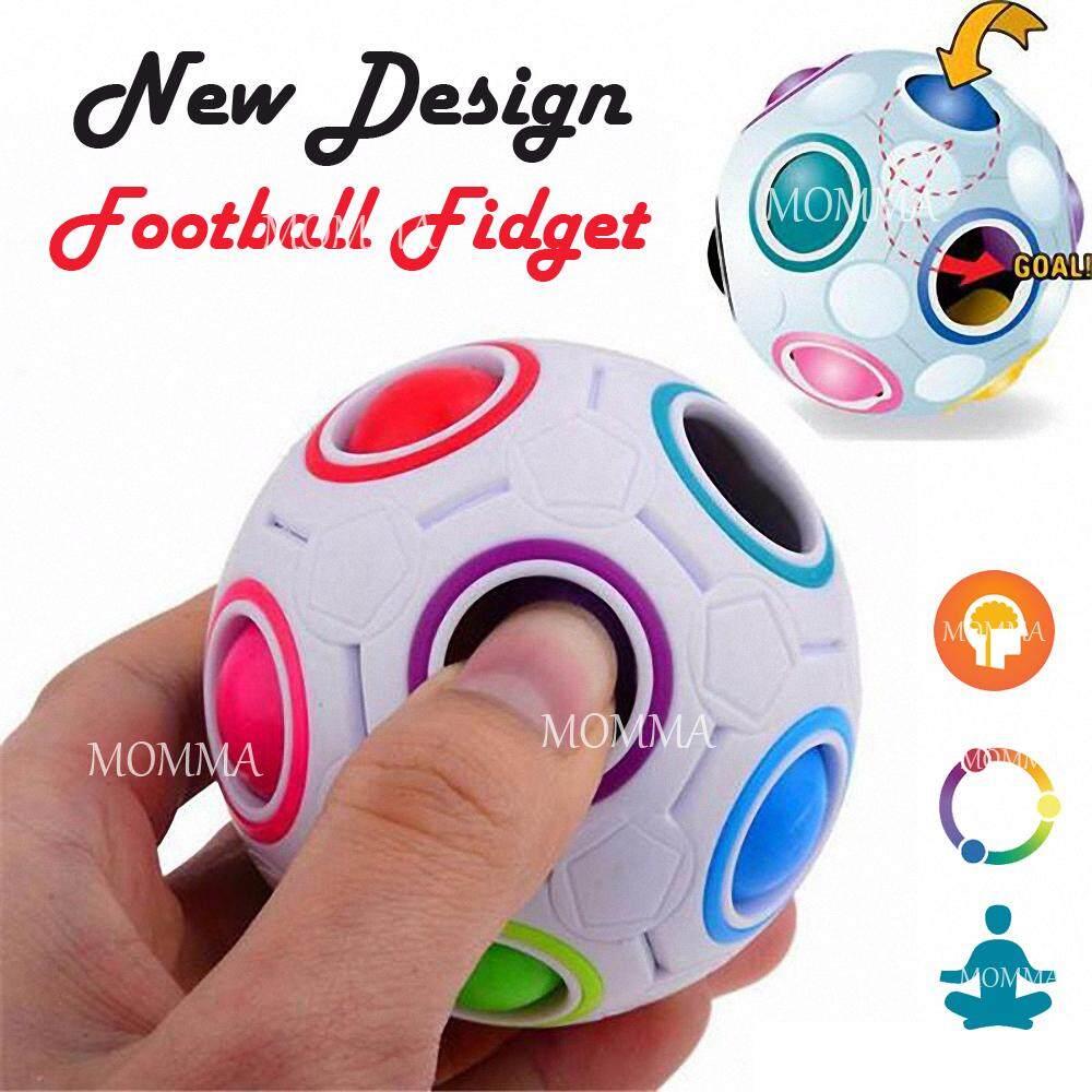 Momma แปลกใหม่ ลูกฟุตบอล คลายเครียด ลูกบอล บริหารนิ้ว ( Fidget Football Rainbow Magic Ball Puzzle Spherical Cube 3d Stress Reliever; Irritability & Stress & Anxiety For Children & Adults ).