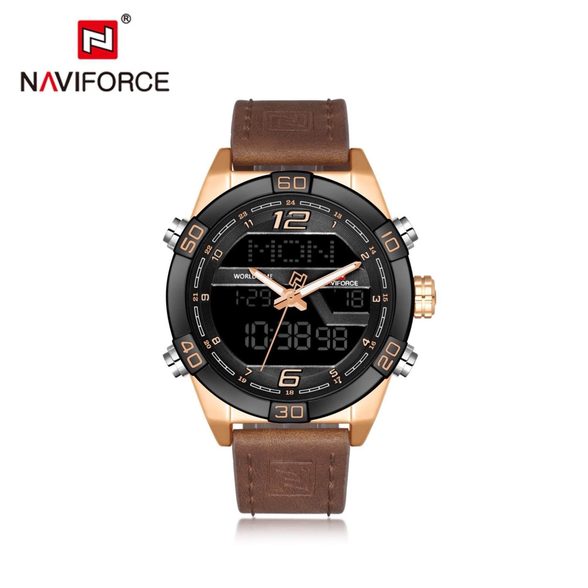 ((ประกันศูนย์ไทย)) NAVIFORCE WATCH นาฬิกาข้อมือผู้ชาย เครื่องญี่ปุ่น กันน้ำ100% สายหนัง รุ่น NF9128
