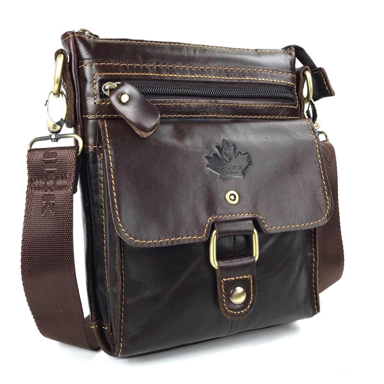 ราคา Chinatown Leather กระเป๋าสะพายหนังวัวแท้ สะพายแนบตัว สีน้ำตาลเข้ม Chinatown Leather กรุงเทพมหานคร