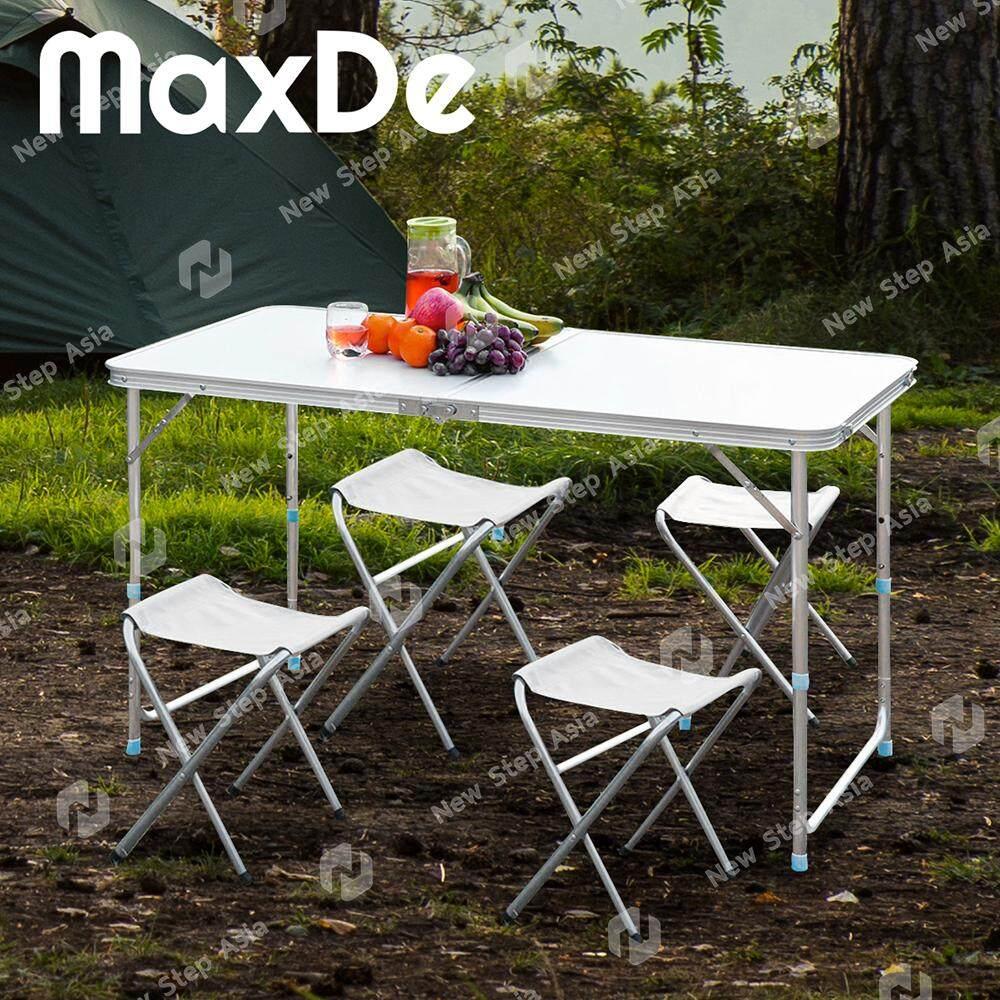 Maxde โต๊ะพับอลูมิเนียมพร้อมเก้าอี้ปิคนิคแบบพกพา ปรับความสูงได้ ขนาด 120 X 60 Cm ขาอลูมิเนียม ผิว Mdf โต๊ะเก้าอี้ปิคนิคพับได้อลูมิเนียม แบบกระเป๋าพกพา โต๊ะ โต๊ะพับ โต๊ะปิกนิก โต๊ะปิคนิค Outdoor Folding Table New Step Asia By Homehuk - New Step Asia.