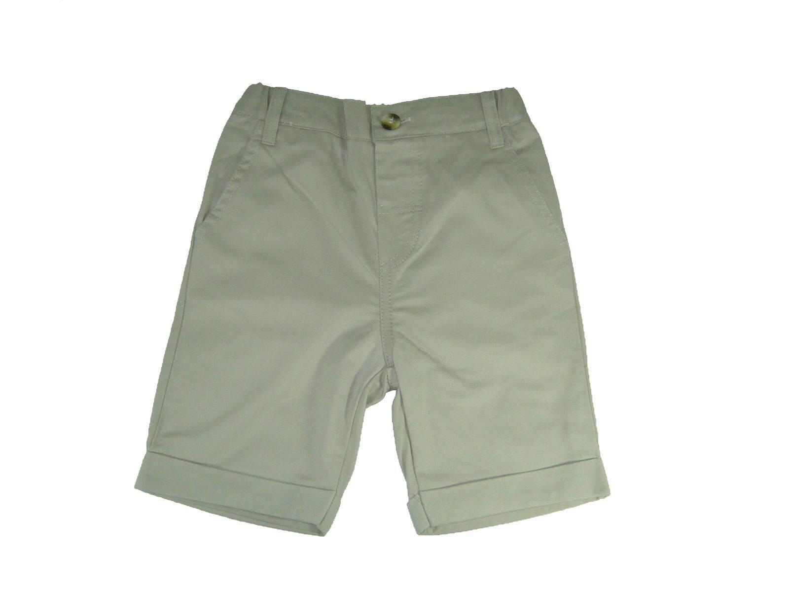 กางเกงเด็กชายขาสั้นผ้าทวิลสีเหลืองสีเบจไซส์6-24เดือน