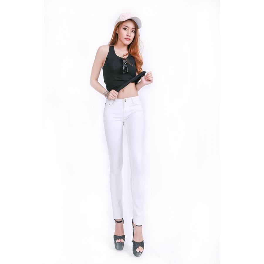 ขาย ซื้อ Eiffel Jeans กางเกงยีนส์ สกินนี่ ขายาว E901 สีขาว ใน ไทย