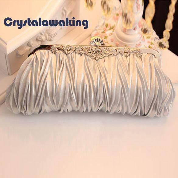 กระเป๋าเป้สะพายหลัง นักเรียน ผู้หญิง วัยรุ่น ราชบุรี Crystal Satin Evening Bag Silver