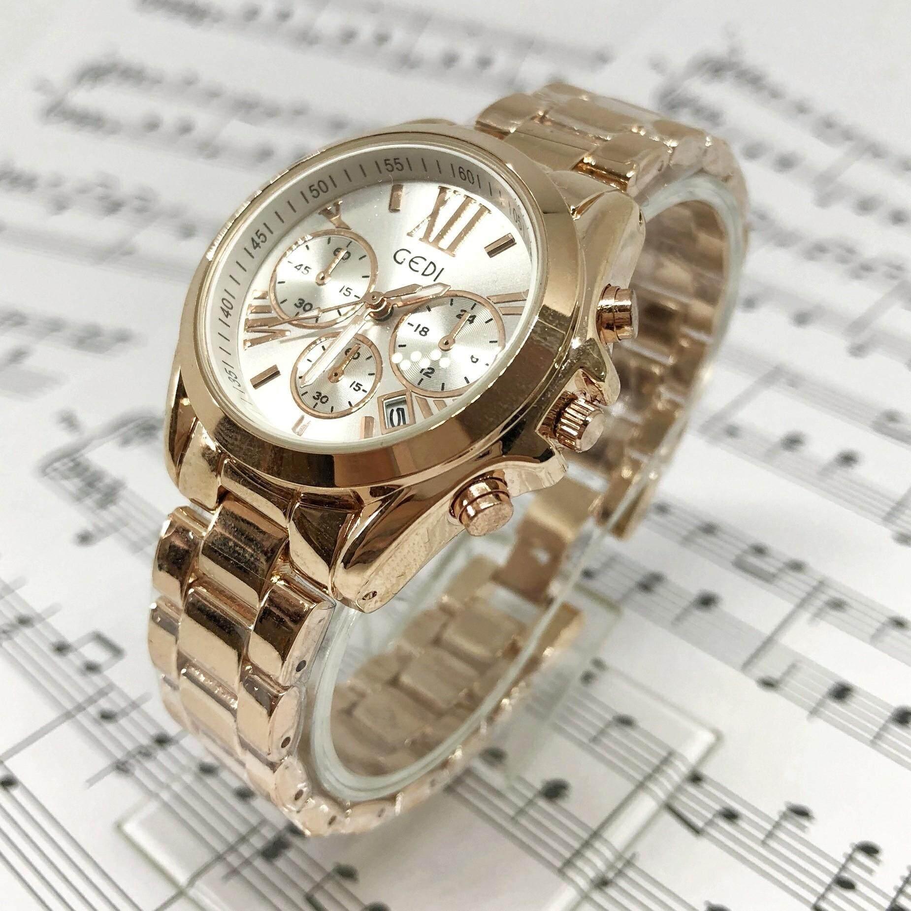Gedi Watch จีดี้ วอช นาฬิกาข้อมือผู้หญิง หน้าปัดสไตล์ Mk สีทอง หน้าปัดสีขาว กันน้ำได้ ดูวันที่ได้ สินค้าขายดีมาก พร้อมกล่องแบรนด์ (มีเก็บเงินปลายทาง).