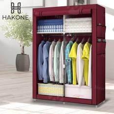 Hakone ตู้เสื้อผ้า 2 บล็อค มีซิปเปิด-ปิด พร้อมช่องเก็บของ ผ้าคลุมกันน้ำ กันฝุ่น รุ่น GY-04 สีแดงเลือดหมู ตู้เก็บของ ตู้เก็บเสื้อผ้า Wardrobe 2 Block new step asia
