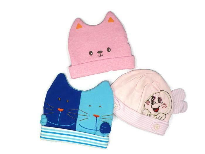 หมวก เด็ก หมวกเด็กเล็ก หมวกเด็กอ่อน หมวกเด็กหญิง หมวกเด็กชาย (แพ็ค3ชิ้น) คละลาย