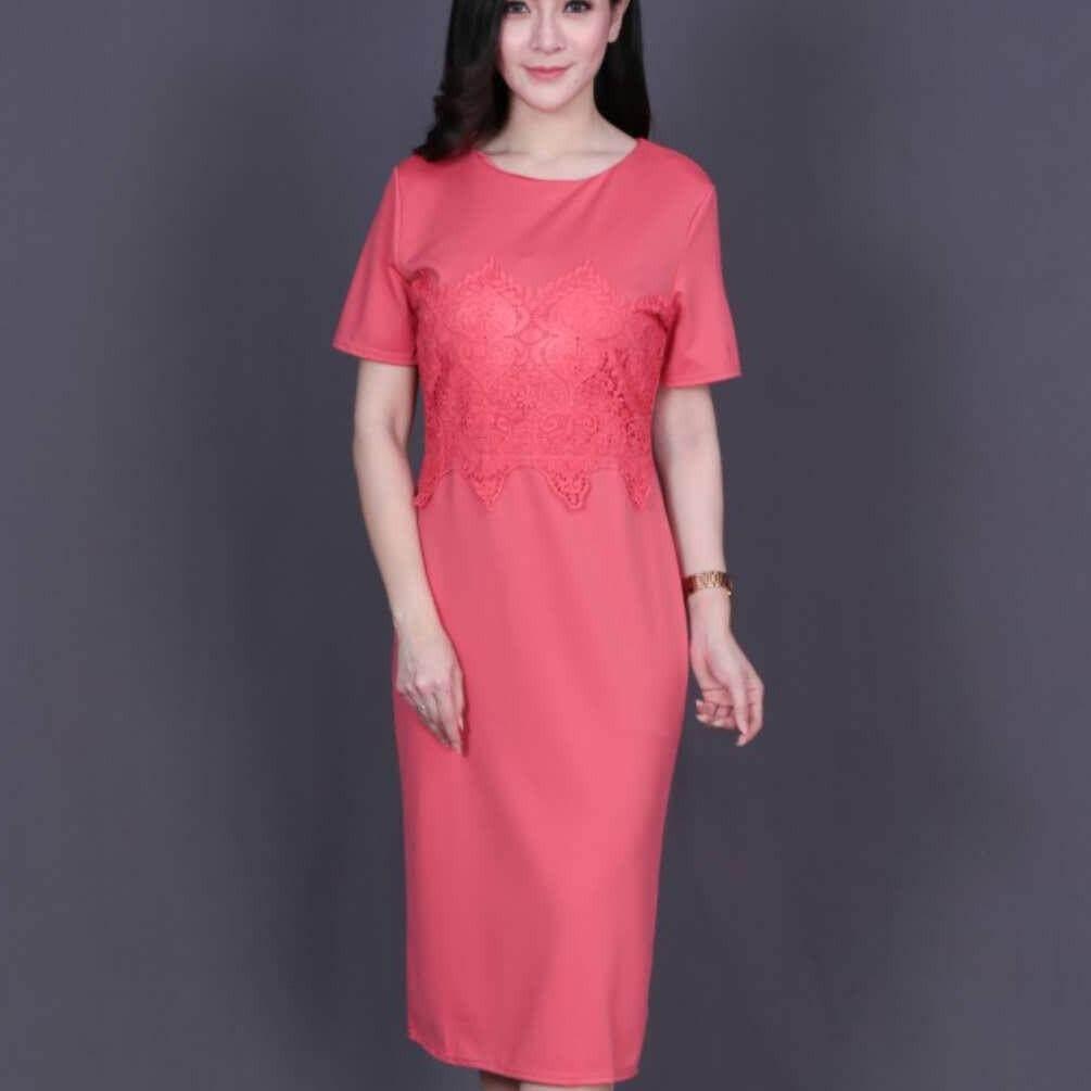 ส่วนลด Baifa Shop ชุดเดรสผ้า มีซิปหลัง ทรงสวิงอย่างดี รุ่นA33656 Baifa