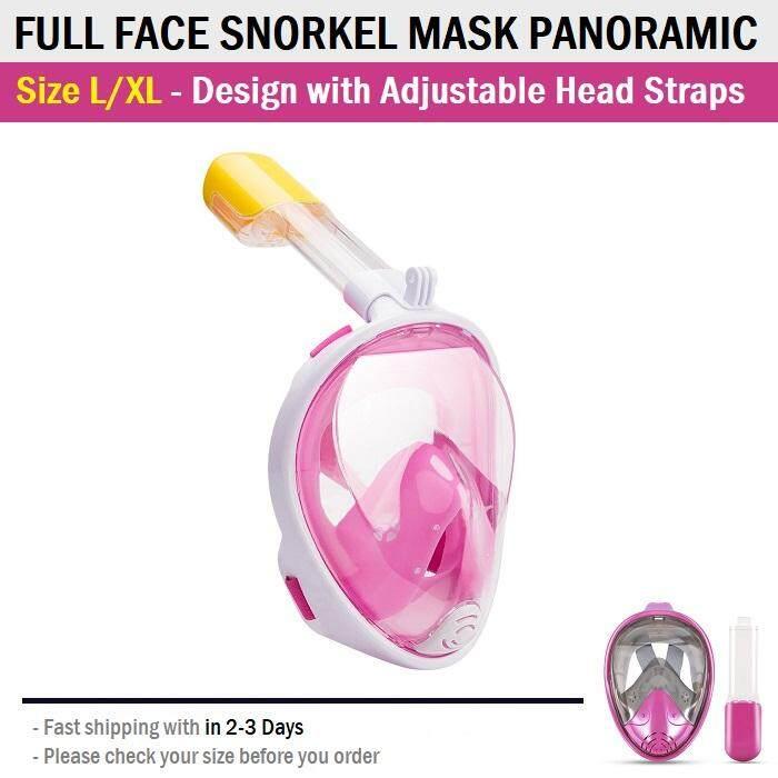 หน้ากากดำน้ำ ขนาด L/xl แบบเต็มหน้า ไม่ต้องคาบ ท่อหายใจ กันฝ้า พร้อมขาติดกล้อง - Diving Mask 180° View Snorkel Mask Panoramic Full Face Design Size L/xl By 2handiphone.