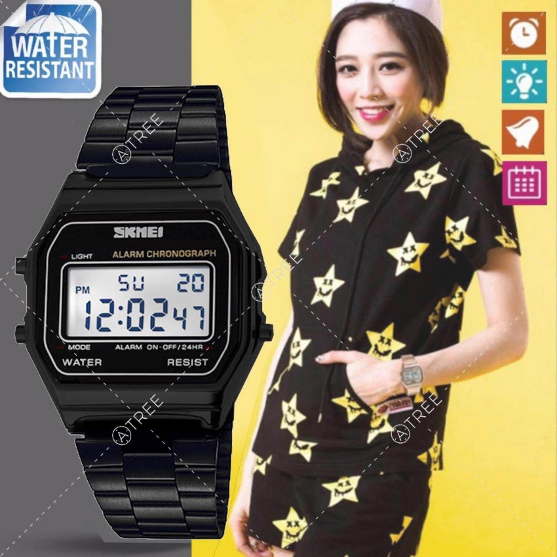 Skmei ของแท้ 100 ส่งในไทยไวแน่นอน นาฬิกาข้อมือผู้หญิง สไตล์ Casual Bussiness Watch จับเวลา ตั้งปลุกได้ ไฟ Led ส่องสว่าง สายแสตนเลสสีดำ รุ่น Sk M1123 สีดำ Black เป็นต้นฉบับ